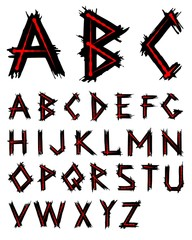 Alphabet. Red and black handwritten alphabet. Dark font.