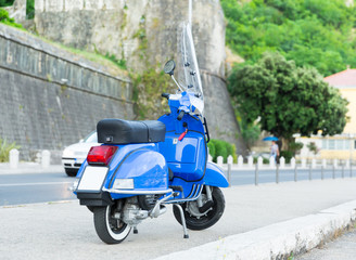 Motorbike standing on the street of Montenegro
