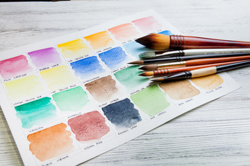 Watercolor paint chart and brushes