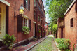 Historic Acorn Street in Beacon Hill, Boston; Massachusetts, USA
