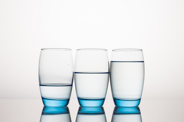 Three Water Glasses in line