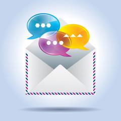 envelope letter and speech bubbles