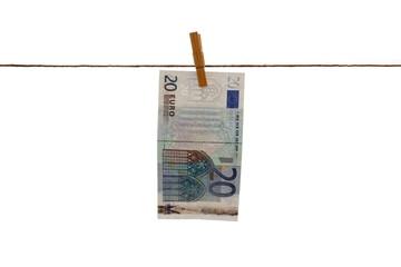Geld auf Wäscheleine: Geldschein trocknen, 1x20