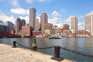Boston Harbor and Financial District. Boston- Massachusetts, USA