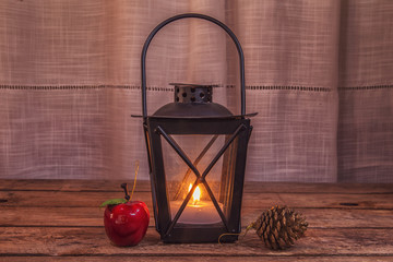 Lantern with Christmas ornaments