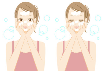 フェイスケア 洗顔をする女性
