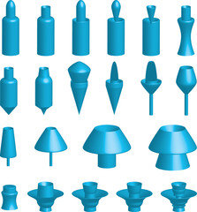 Illustration of various 3d shapes on white background