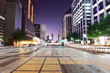 Cityscape of Seoul at Cheonggyecheon at night