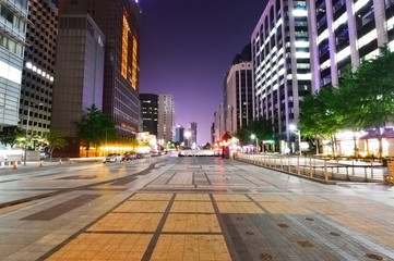 Cityscape of Seoul at Cheonggyecheon at night
