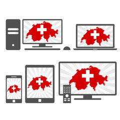 Electronic devices with the map of Switzerland