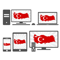 Electronic devices with the map of Turkey