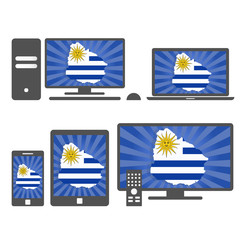 Electronic devices with the map of Uruguay