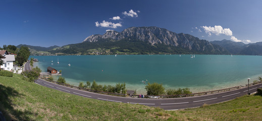 Mondsee lake in the mountains of Austria..