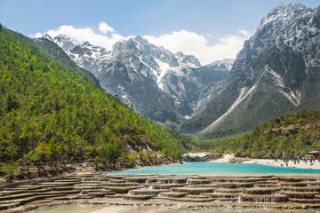 White Water River waterfall and Jade Dragon Snow Mountain, Lijia