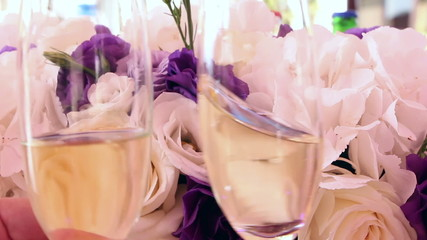 Wedding decoration and glasses with champagne