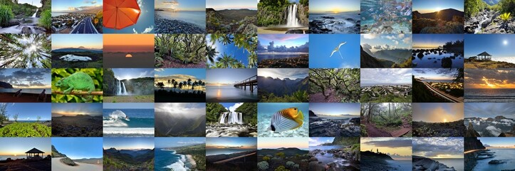 Mur d'images de l'Ile de la Réunion .