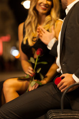 Couple before proposal in the city