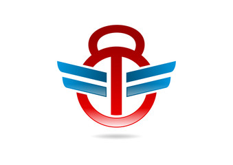 Fitness wings kettlebell logo