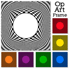 Op Art Abstract Design Frames, 6 colors, illusion, hypnosis