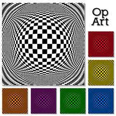 Op Art Abstract Design Patterns in 6 colors, illusion, hypnosis
