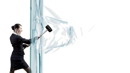 Woman breaking glass