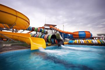 Aquapark sliders, aqua park, water park.
