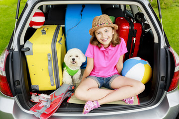 Travel - family ready for the travel for vacation