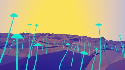 Growing mushrooms on geometric landscape