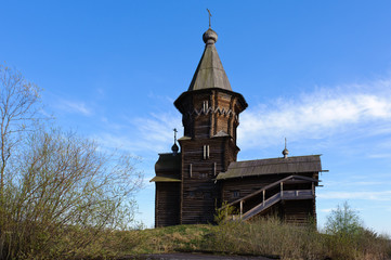 Old wooden church in a village