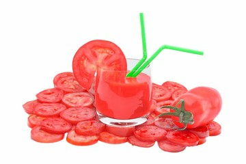 Tomato Juice in glass, tomato and tomato slice