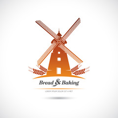 Windmill. Bread and pastries. Label.