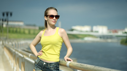 Stylish girl with sunglasses