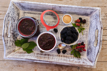 Blackberry fruits and blackberry jam
