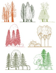 A set of tree silhouettes for landscape design
