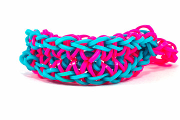 Colorful Rainbow loom bracelet rubber bands fashion close up