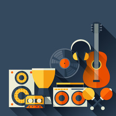 Background with musical instruments in flat design style.