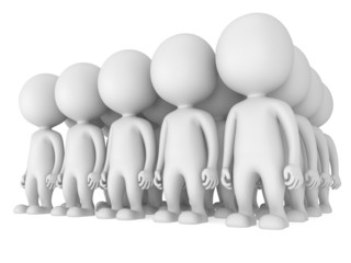 Group of stylized white people stand on white