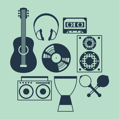 Set of musical instruments in flat design style.