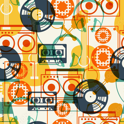 Seamless pattern with musical instruments in flat design style. - 69516901