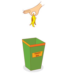 hand above trashbin