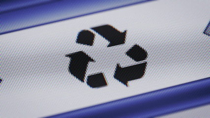 Recycle icon on the screen. Looping.