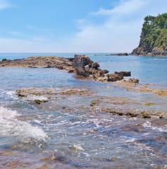 scenic sea shore and blue sky