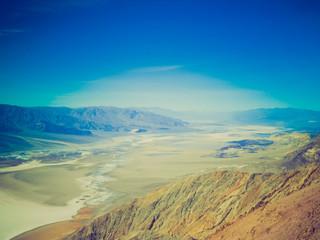 Retro look Zabriskie Point in Death Valley