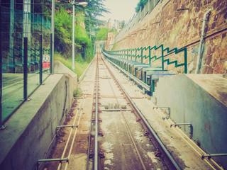Retro look Funicular de Montjuic