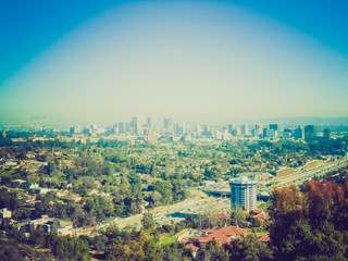 Retro look View of Los Angeles California