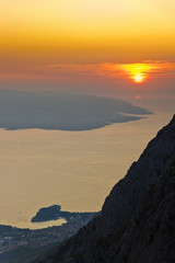 Island Brac and sunset at Biokovo, Croatia