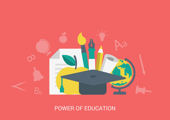 Flat vector icon education concept collage. Power of education.