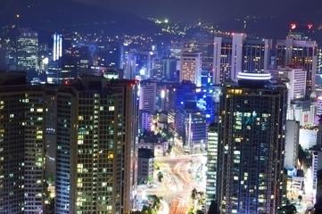 Skyline view of Seoul City, night panoramic view, South Korea