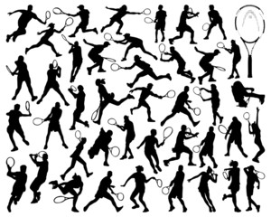 Black silhouettes  of tennis player 2, vector