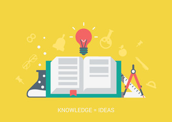 Flat style vector education concept. Knowledge creates ideas.